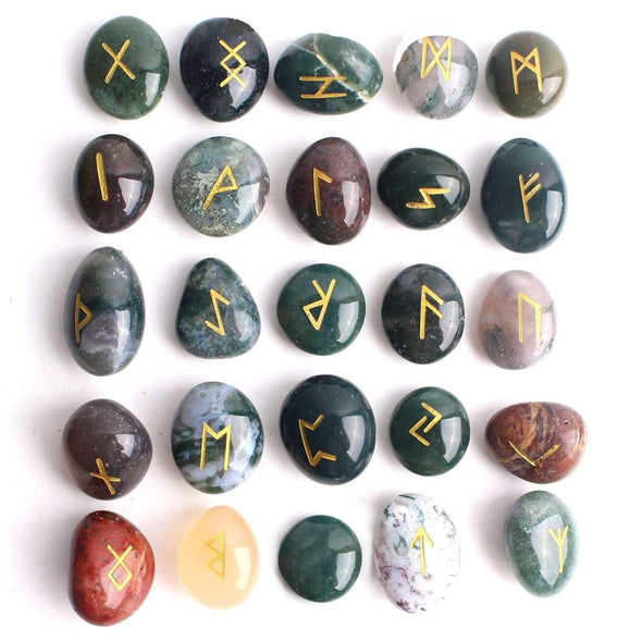 Green Aquatic Agate Runes