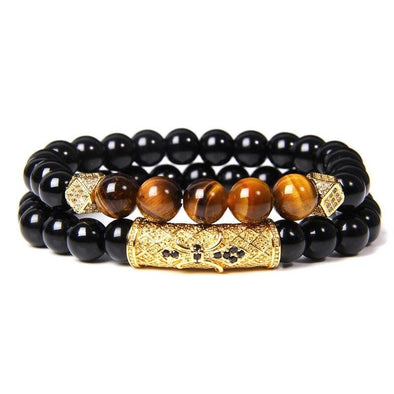 Tiger's Eye & Black Onyx Bracelet Set