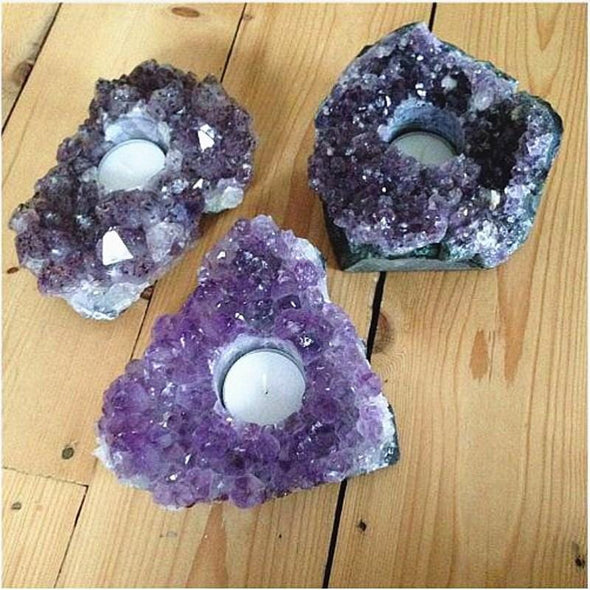 Natural Rough Amethyst Tea Light Candle