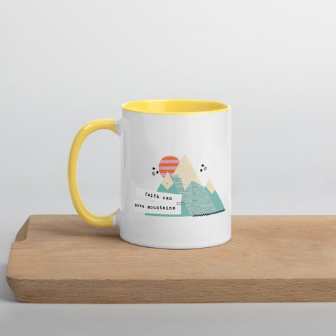 Faith Can Move Mountains Mug in Sunny Yellow