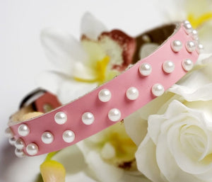 Pink Leather and Pearl Collar