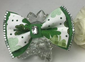 Blinged out St Patricks Day rhinestones Cat  and Dog Bowtie