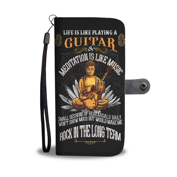 Buddha Guitar Wallet Phone Case