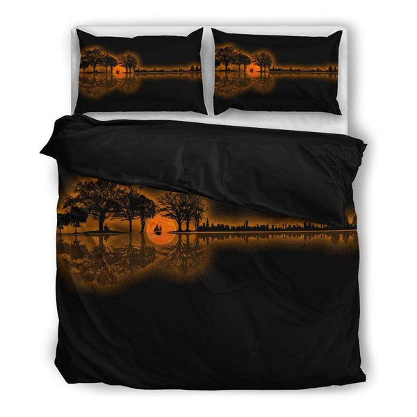 Guitar Sunset Landscape Bedding Set