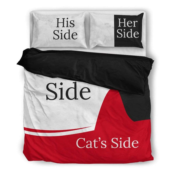 His & Her w/ Dog's or Cat's Side Bedding Set