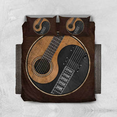 Yin Yang Guitar Brown Bedspread