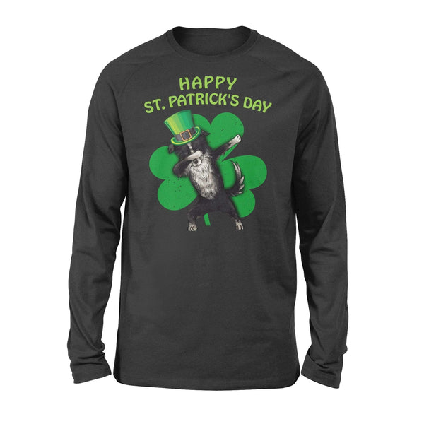 Funny St Patrick's day long sleeve ideas for men women - Border Collie dabbing