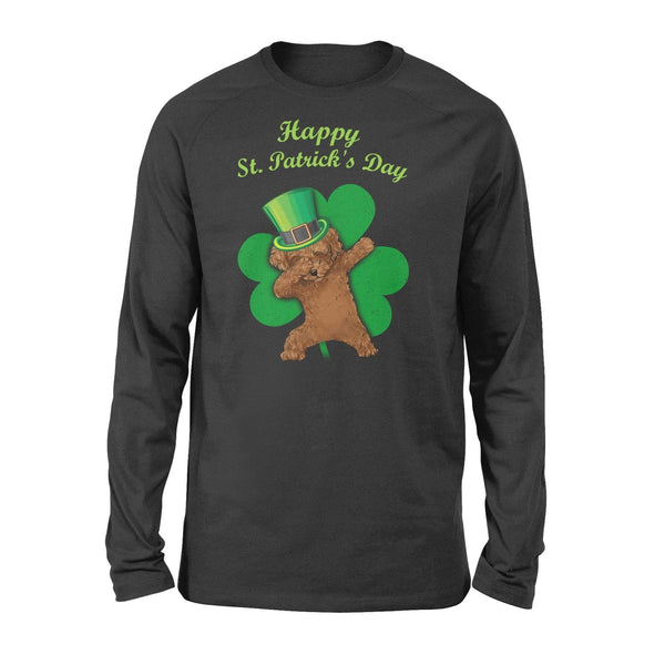 Funny St Patrick's day long sleeve ideas for men women - Poodle dabbing
