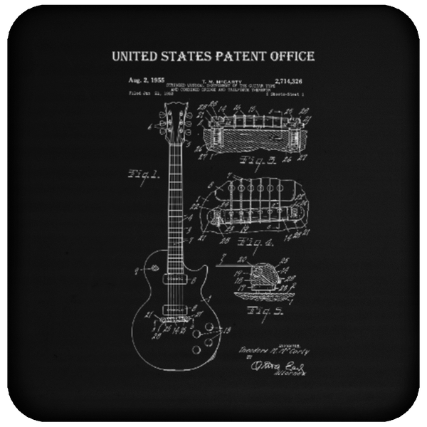 Guitar Patent Drawing - Coaster