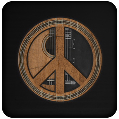 Peace Symbol (Guitar) - Coaster