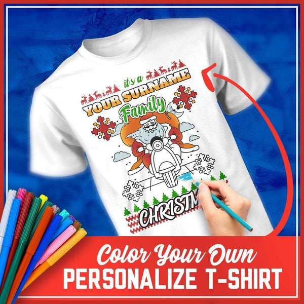 DIY Color In Ugly Family Christmas MEN'S T-Shirt - Santa On A Motorbike
