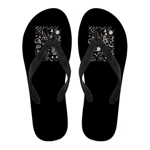 Elements of Witchcraft Inspired by Wicca Women's Flip Flops