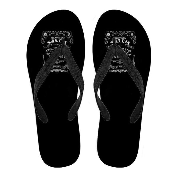 Quija Board Inspired by Witchcraft & Wicca Men's Flip Flops