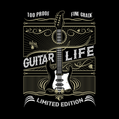 100% Proof Finest Guitar Life _?? Mens - Hoodie - Small to 5XL