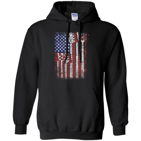 Bass Guitar Flag - Mens - Hoodie - Small to 5XL