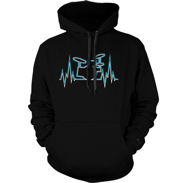 Drummer Heart Line - Mens - Hoodie - Small to 5XL