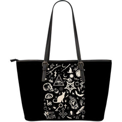 Elements of Witchcraft Inspired by Wicca Large Leather Tote