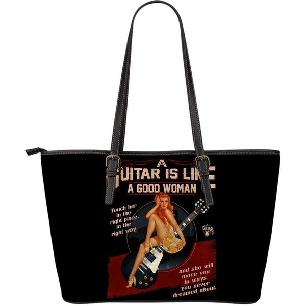Guitar Is Like A Good Woman Large Leather Tote