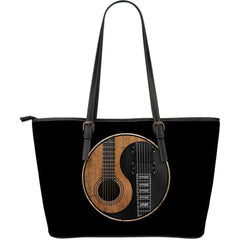 Yin Yang Guitar Large Leather Tote Bag