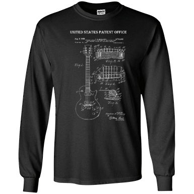 Guitar Patent Drawing - Mens - Long Sleeved Tshirt - Small to 5XL