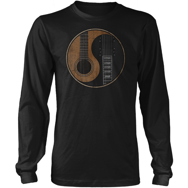 Yin Yang Guitar - Mens - Long Sleeved Tshirt - Small to 5XL