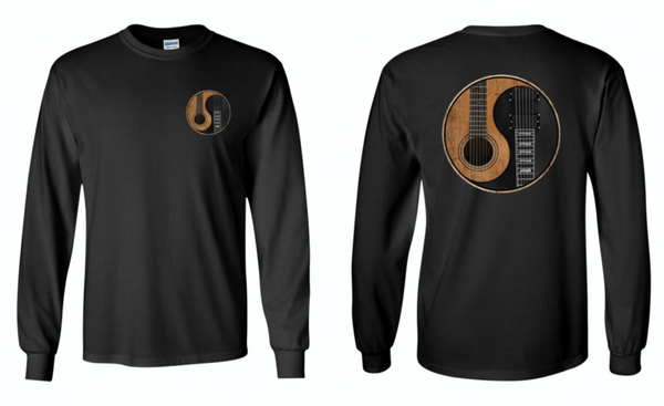 Yin Yang Guitar - Mens - Long Sleeved Tshirt w/ Front and Back Logo
