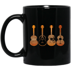 4 Guitar Print 11 oz. / 15 oz. Black Mug