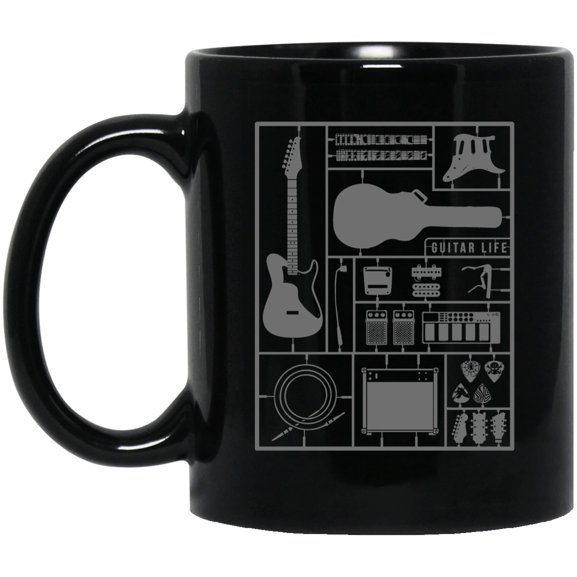 Build Your Own Guitar 11 oz. or 15 oz. Black Mug - Offer Wall