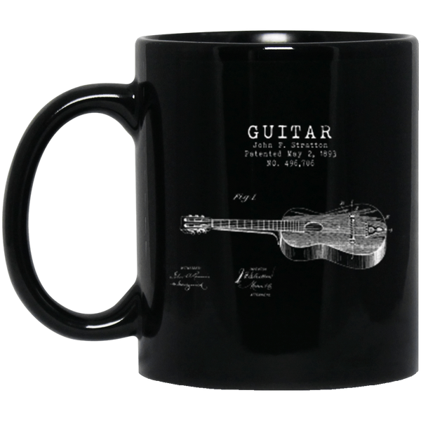 Stratton Patent Guitar 11 oz. or 15 oz. Black Mug