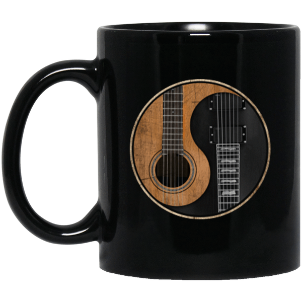 Yin Yang Guitar 11 oz. or 15 oz. Black Mug