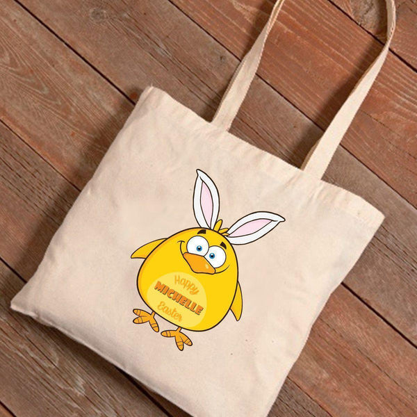 Personalized Easter Canvas Bag - Chicken Bunny