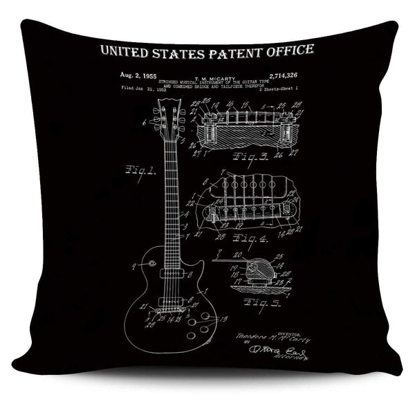 Guitar Patent Drawing - Pillow Cover