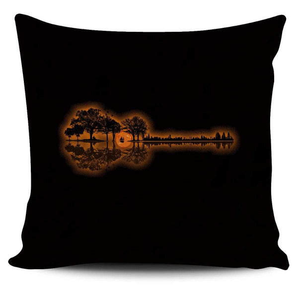 Guitar Sunset Landscape - Pillow Cover