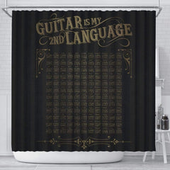 Guitar is My 2nd Language Shower Curtain