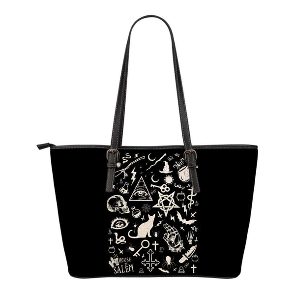 Elements of Witchcraft Inspired by Wicca Small Leather Tote
