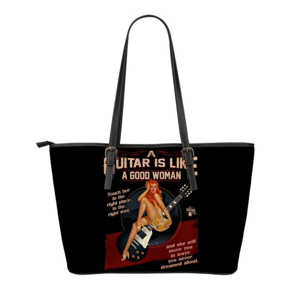Guitar Is Like A Good Woman Small Leather Tote