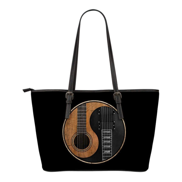 Yin Yang Guitar Small Leather Tote Bag