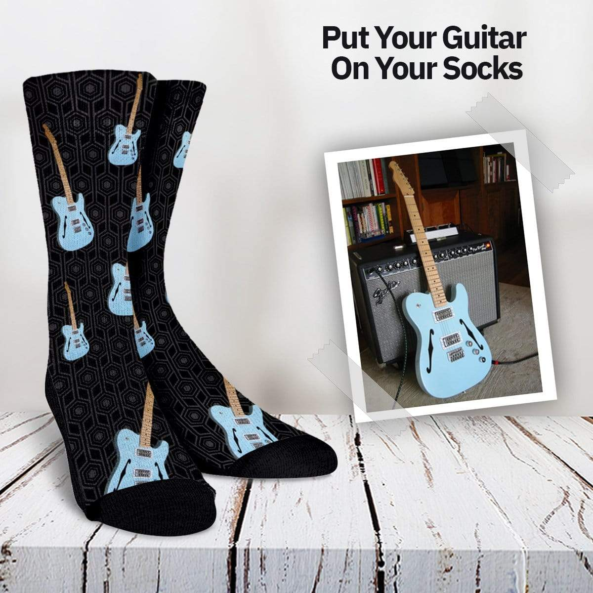 Your Guitar On Your Socks - Amp Pattern Custom Socks - Offer Wall