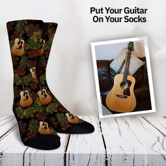 Your Guitar On Your Socks - Forest Pattern Custom Socks