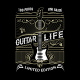 100% Proof Finest Guitar Life - Mens - Tshirt - Small to 5XL
