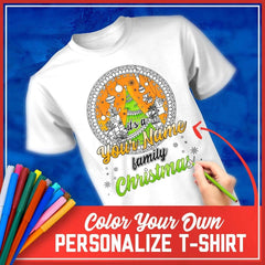 DIY Color In Ugly Family Christmas MEN'S T-Shirt - Christmas Tree