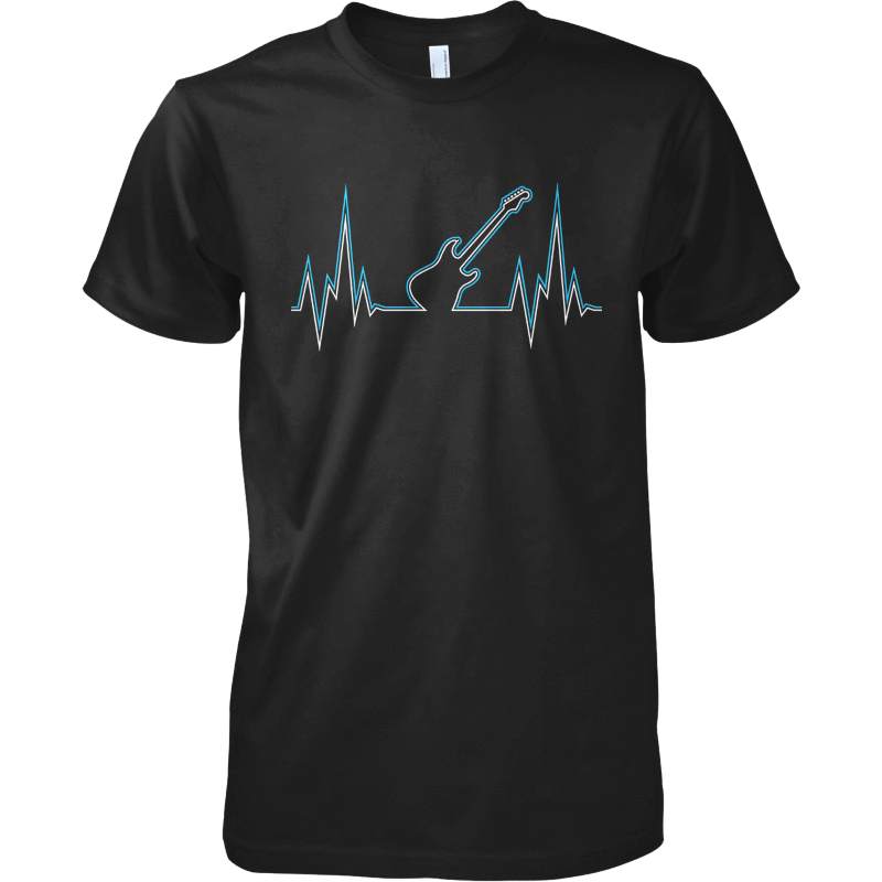 Guitar Heart Line - Mens - Tshirt - Small to 5XL