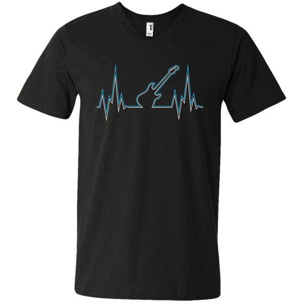 Guitar Heart Line - Mens - V-Neck - Small to 3XL