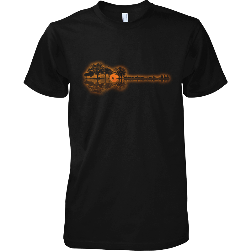 Guitar Sunset Landscape - Mens - Tshirt - Small to 5XL - Offer Wall