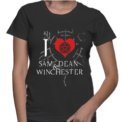 I Love Sam And Dean Winchester - Womens - Tshirt - Small to 2XL