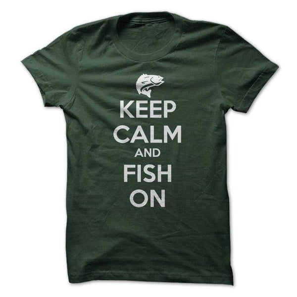 Keep Calm and Fish On - Mens - Tshirt - Small to 5XL