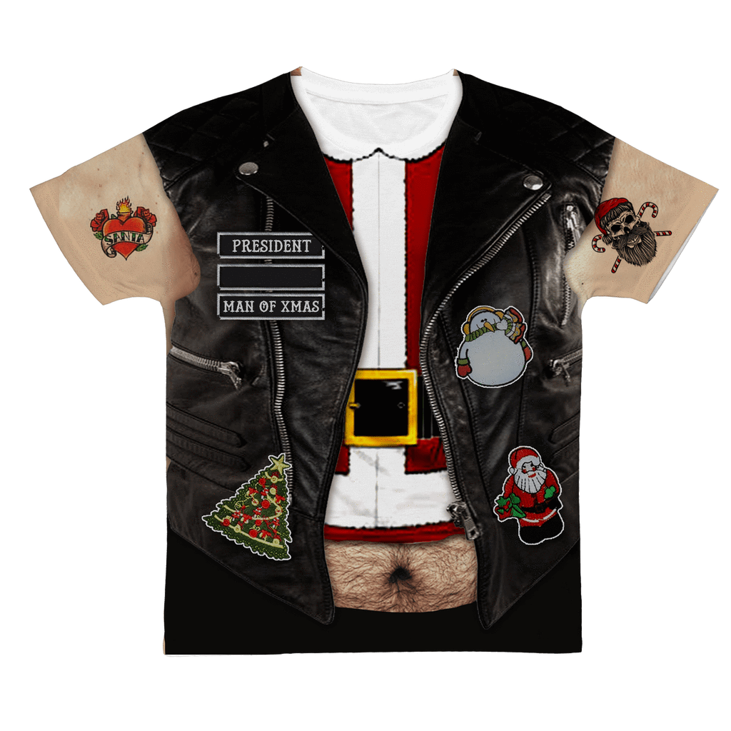 Personalized Ugly Christmas Biker Vest - Mens - Sublimation Tshirt - Small to 4XL