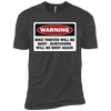 Warning Bike Thieves Will Be Shot - Survivors Will Be Shot Again - Mens - Tshirt - Small to 5XL