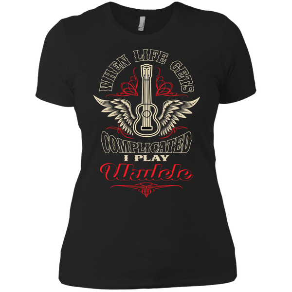 When Life Gets Complicated I Play Ukulele - Womens - Tshirt - Small to 3XL