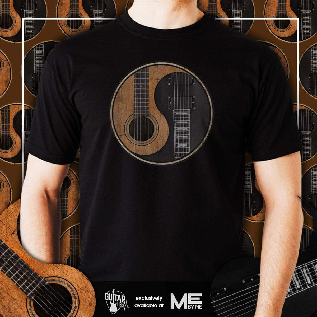 Yin Yang Guitar - Mens - T-Shirt - Sizes Small to 5XL - Offer Wall
